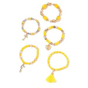 Jewelry - Set of 5 Yellow Glass Beads, Chroma Goldtone Charm